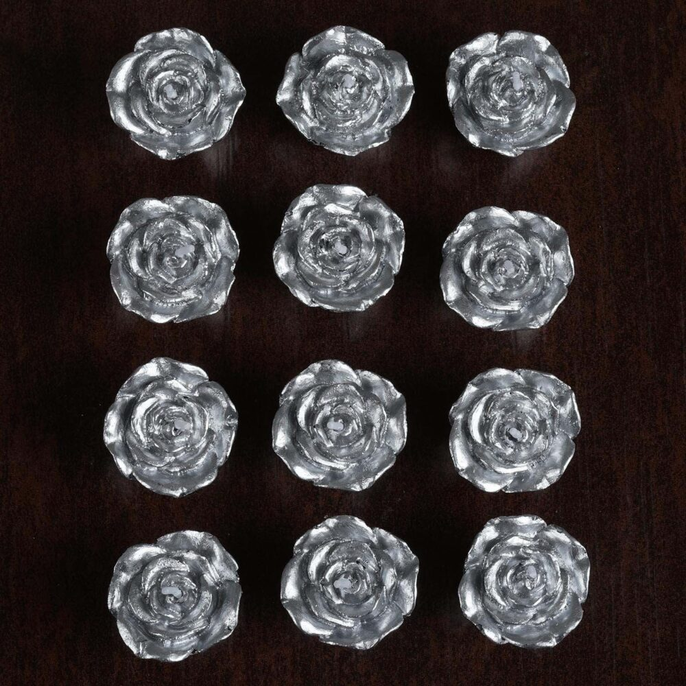 """12 Pcs 1"""" Silver Mini Rose Flower Floating Candles, Candles For Table Decor, Home Candle Gift, Party Favors"""