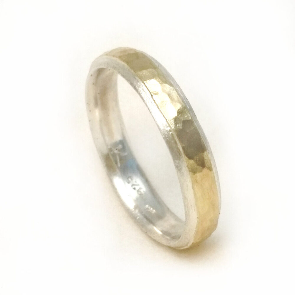 Narrow Men's Wedding Band, Sterling Silver Men Band With Yellow Gold Sheet Soldered On Top, Ilanamir