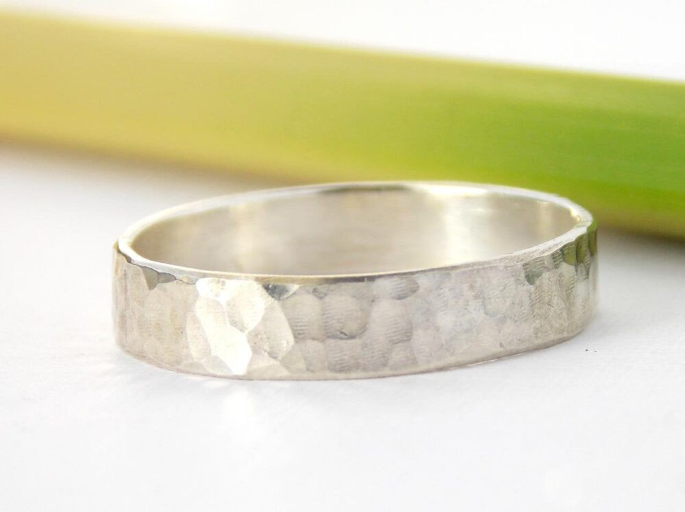 Hammered Band Ring -sterling Silver Ring, Textured Simple Silver Ring, Hammered Texture Wedding Band