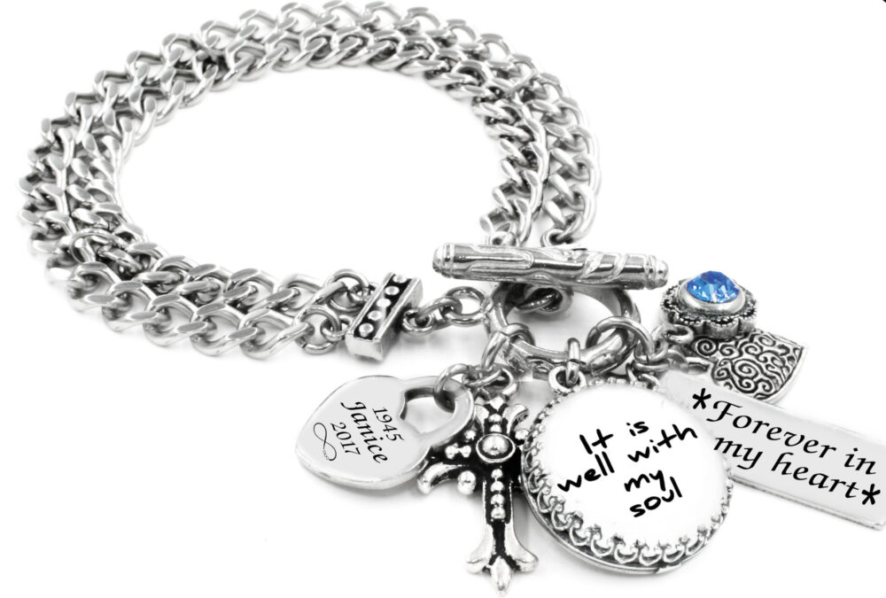 Engraved Signature Bracelet in Stainless Steel With Choice Crystal Birthstone, Handwriting