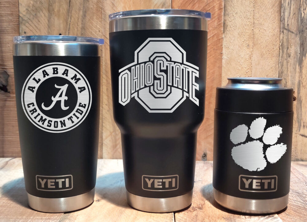 Yeti Black Stainless Steel Tumbler Laser Engraved 20 Or 30 Oz, Colster - Select Your University Team, Personalized