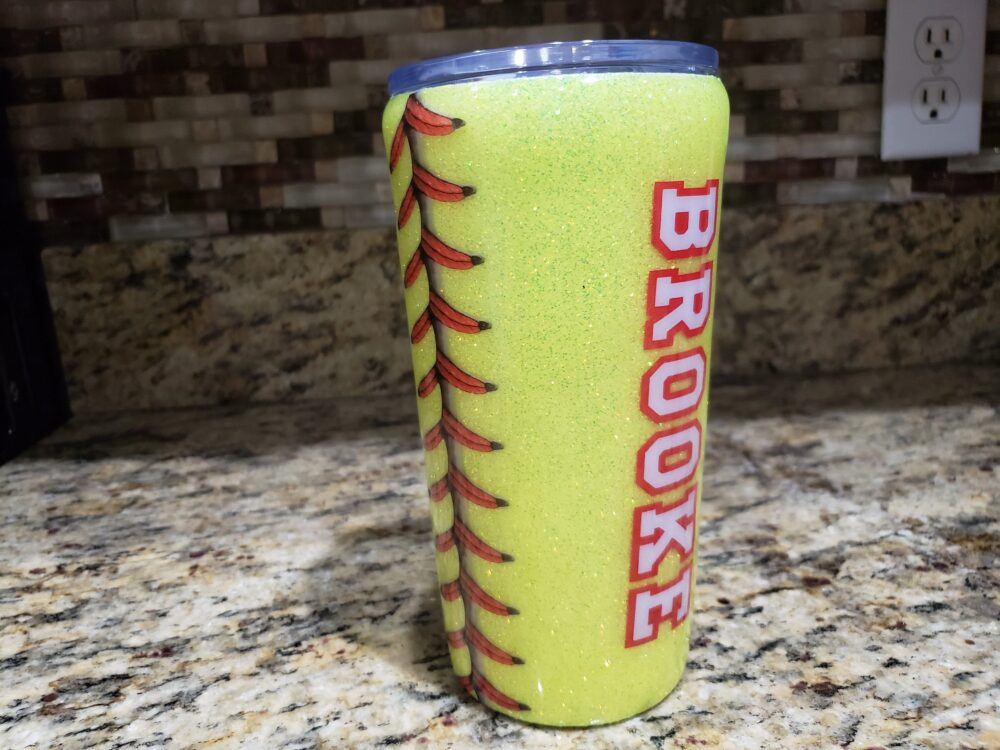 Glitter Softball Stainless Steel Tumbler | Can Be Personalized, Custom Tumbler, Baseball Cup, Cup With Name