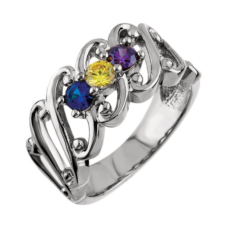 Family Birthstone Ring 1 - 5 Stones Personalized Sterling Silver Mother's Day