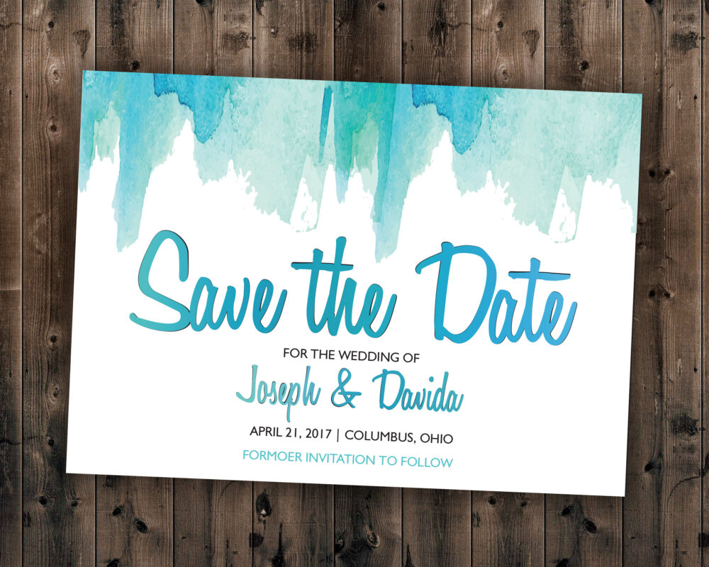 Watercolor Save The Date Printed - Wedding Date, Affordable, Vintage, Teal, Blue, Watercolor, Modern, Cheap, Summer