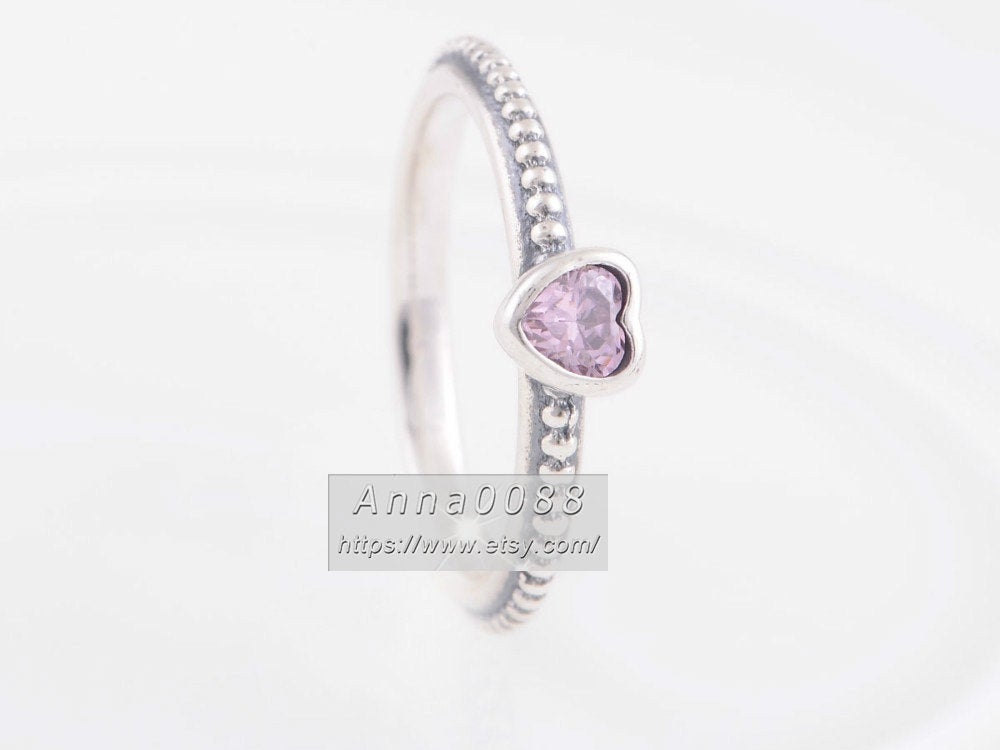 S925 Sterling Silver One Love Pink Heart Ring With Cz Woman Jewelry Size 50, 52, 54, 56, 58mm