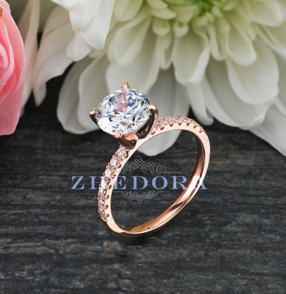 2.25 Ct Round Solitaire Engagement Ring 14/18K Rose Gold , White Sapphire Ring, Moissanite Ring, Forever One