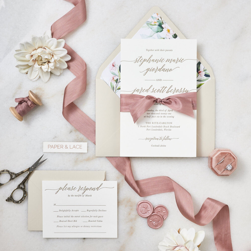 Stephanie - Letterpress Wedding Invitation Double Thick 100% Cotton Pearl White Card Stock With Rose Silk Ribbon & Floral Envelope Liner