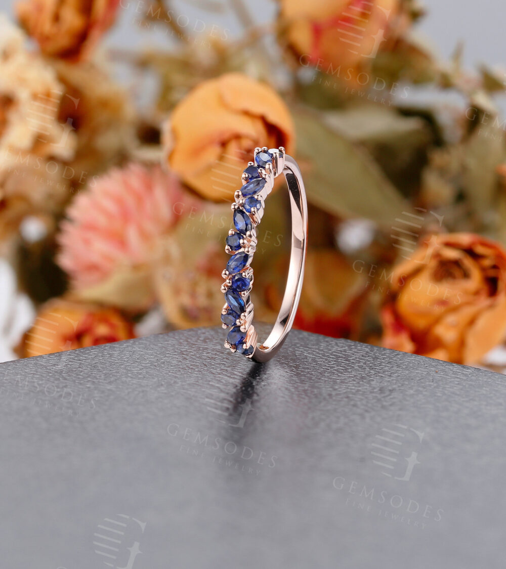 Vintage Sapphire Marquise Cut Wedding Band Rose Gold Engagement Band Women, Half Eternity Promise Ring Anniversary