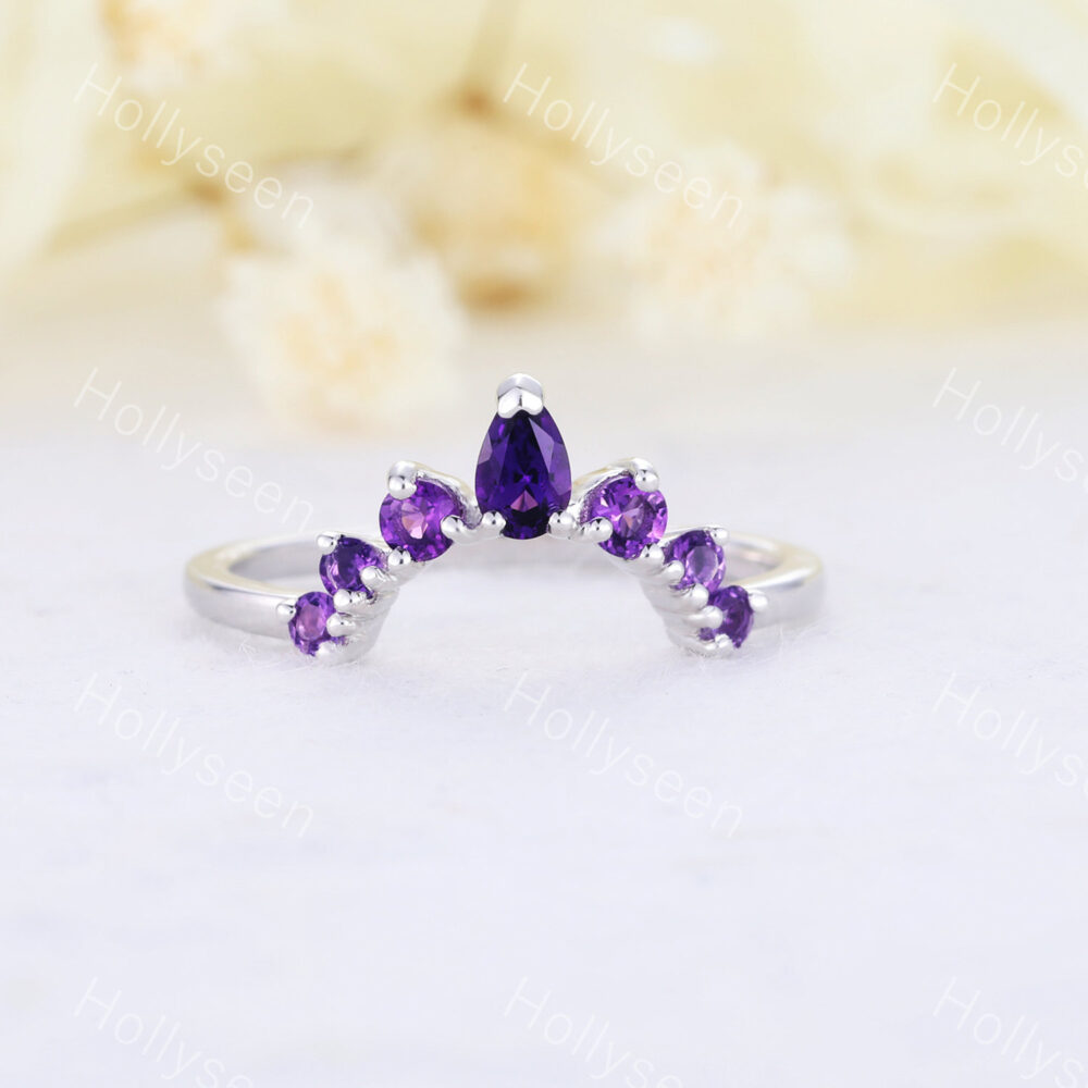 Amethyst Wedding Band Rose Gold Stackable Ring Curved Chevron Engagement Matching Stacking For Women Bridal Statement Purple