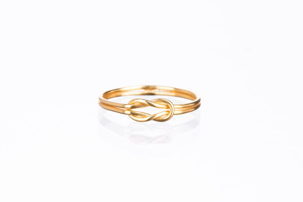 Long Love Knot Ring, Gold 14K Filled Double Pinky Promise Purity Aesthetic Rings, Cool Rings