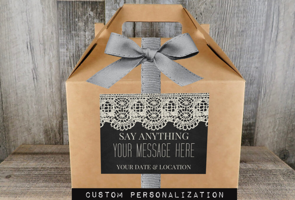 Personalized Gable Favor Box | Vintage Ivory Lace Party Wedding Treat Swag - Fg Il