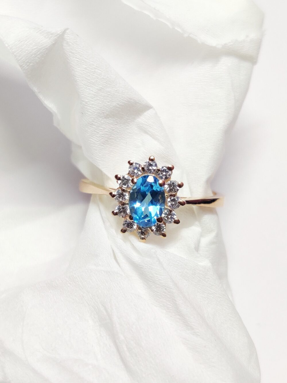 Blue Topaz Engagement Ring Natural Solitaire 1 Ct Swiss Wedding Band 925 Sterling Silver
