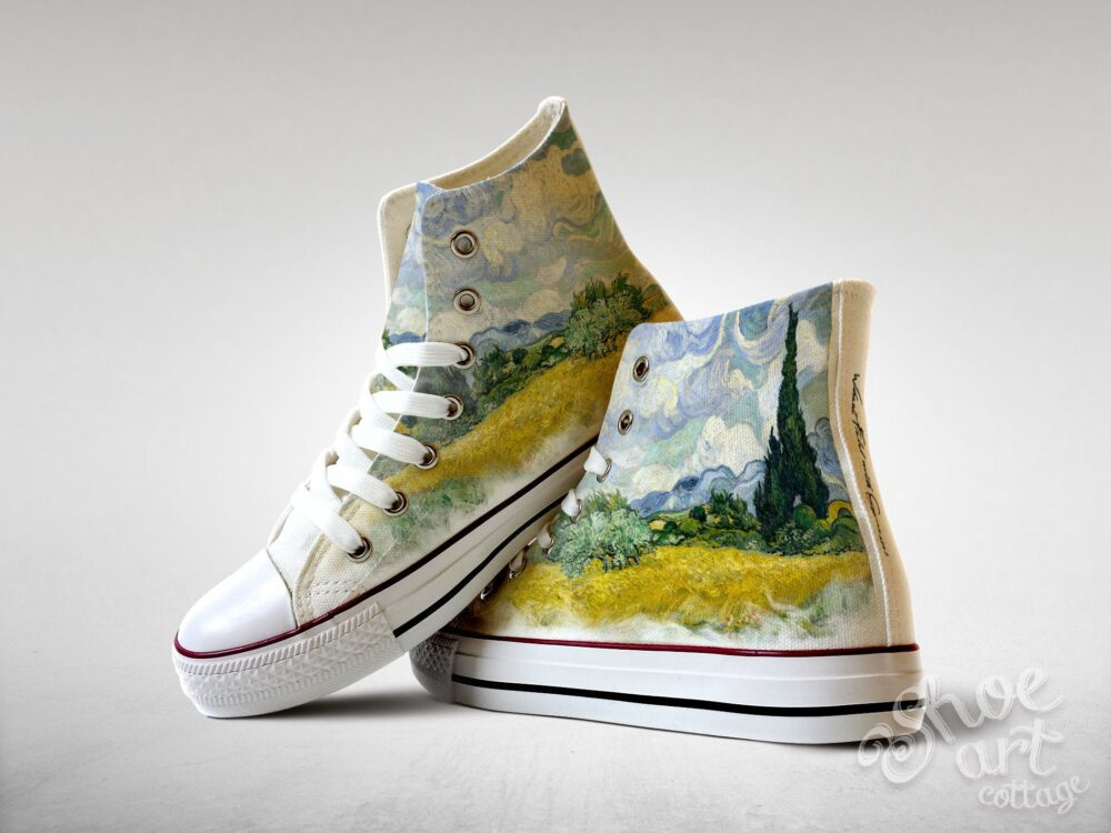 Wheat Field With Cypresses - Vincent Van Gogh, Custom Made Shoes