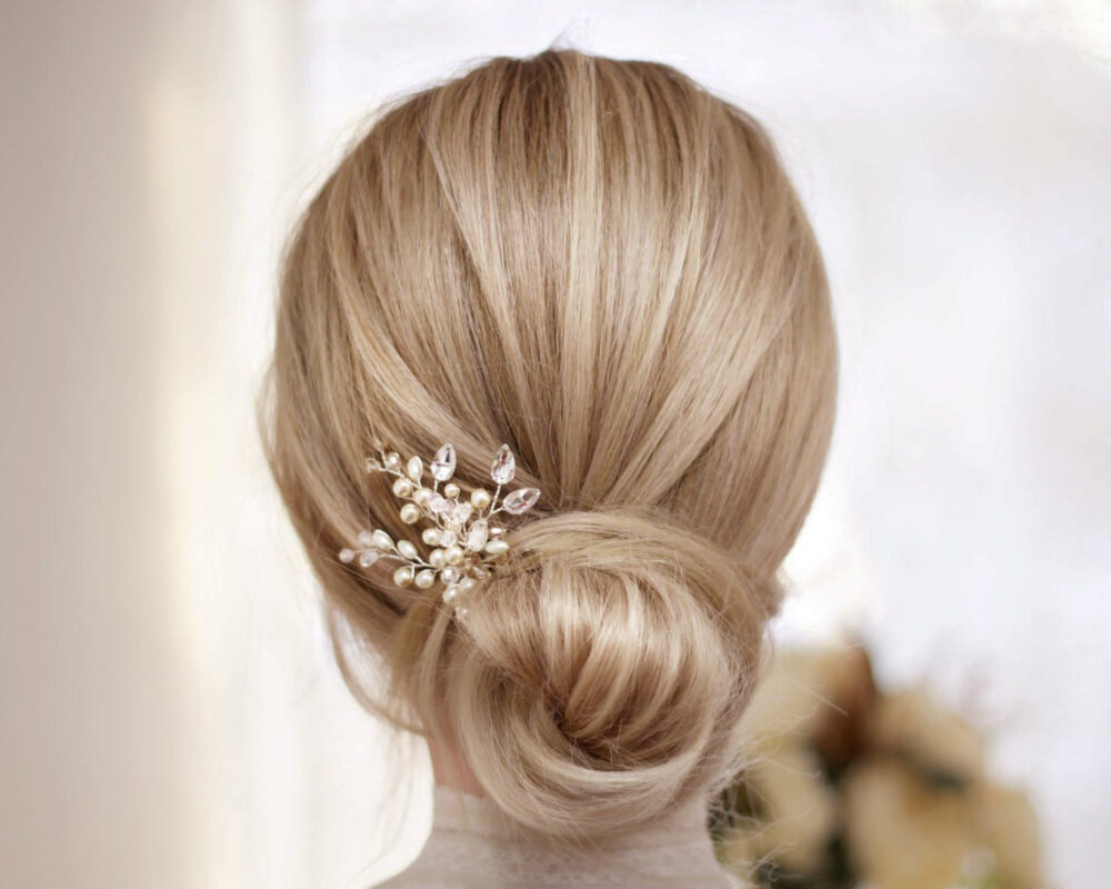 Wedding Hair Pin Small Pearl Bridal Piece Accessory Crystal Headpiece Delicate Ivory Hairpin