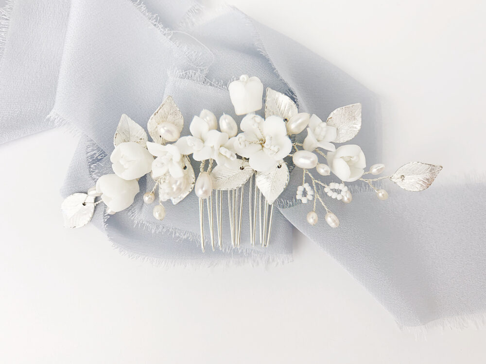 Porcelain Floral Wedding Hair Comb With Pearl & Silver Leaf Detailing, Hairpins, Accessories, Bridal Hairpiece