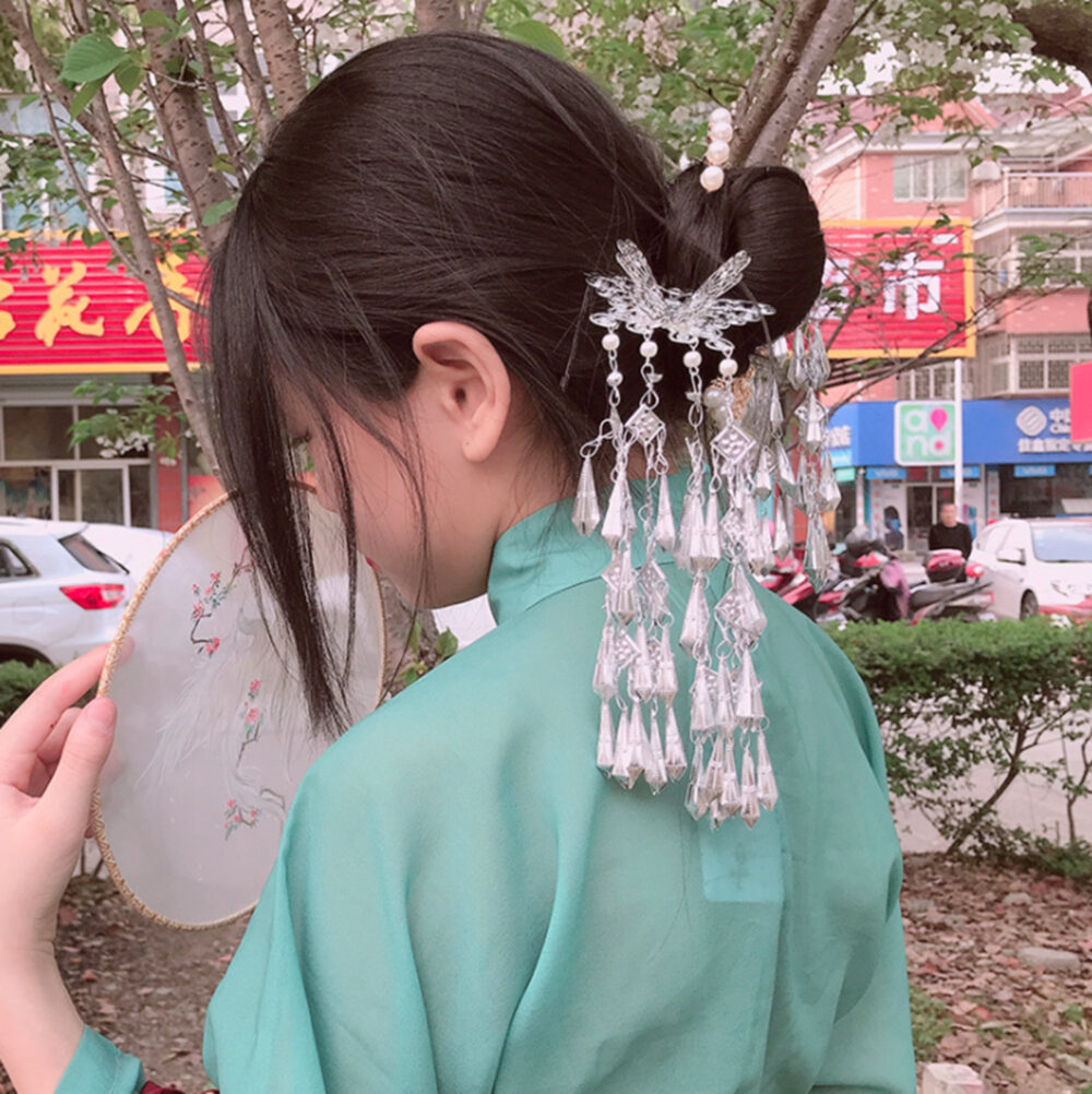 Silver Butterfly Chinese Wedding Hair Pin With Long Tassels Stick Miao Sticker
