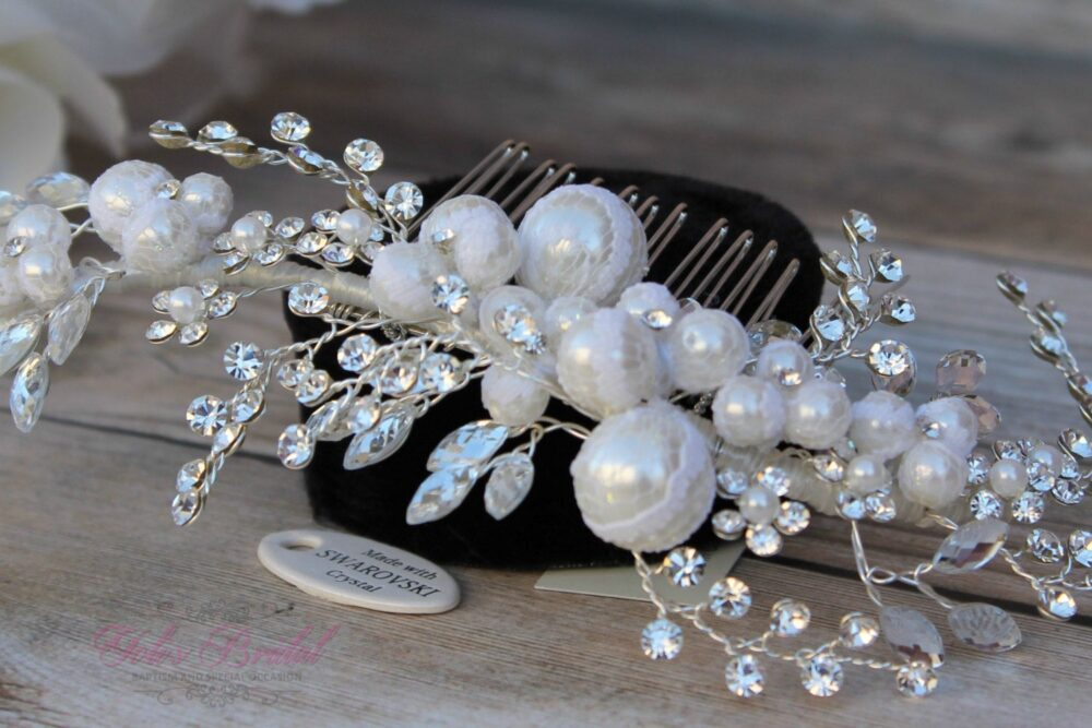 Swarovski Hair Comb, Pearl & French Lace Comb, Crystal Bridal Wedding Comb