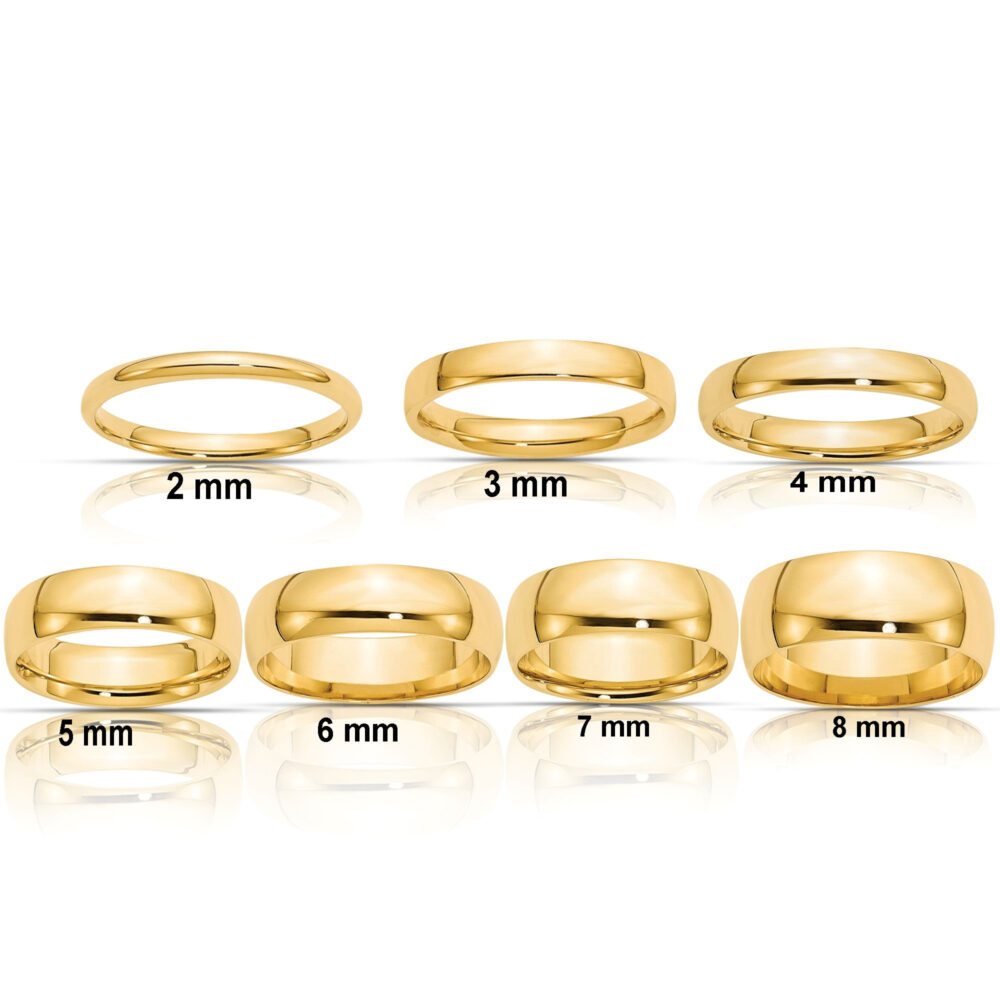 Real Comfort Fit 14K Solid Yellow Gold 2mm 3mm 4mm 5mm 6mm 8mm Men's & Women's Wedding Band Midi Thumb Toe Ring Sizes 4-14. 14K