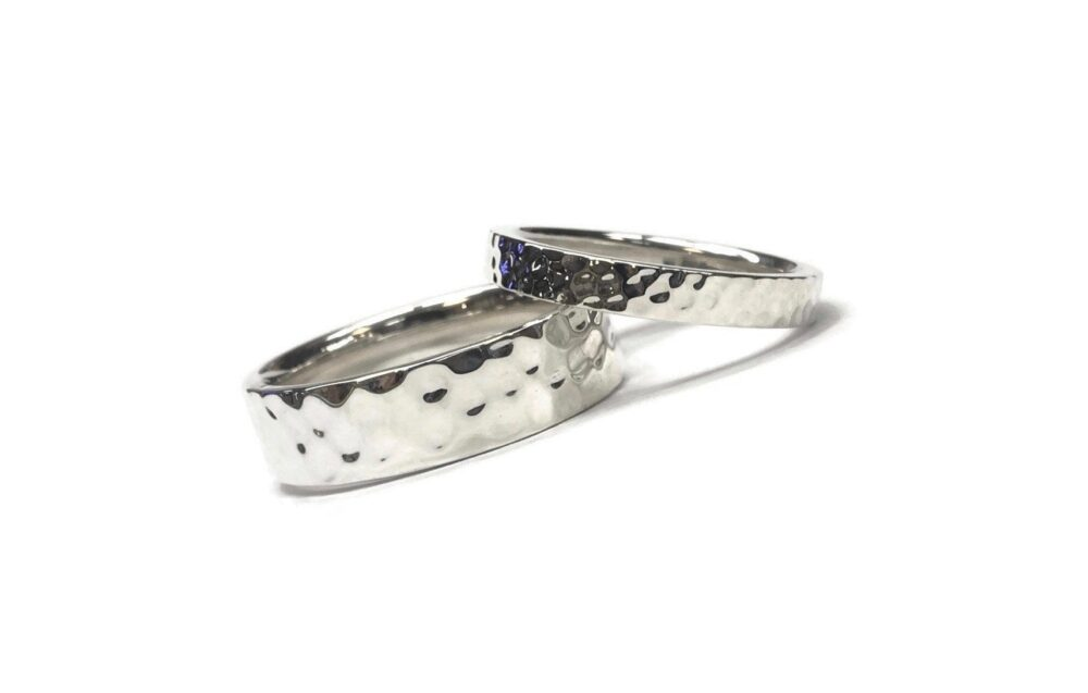 Hammered Textured Silver Wedding Bands ~ Simple Minimalistic Ring Comfort Fit Rounded Inside 2mm 3mm 4mm 5mm 6mm 7mm Or 8mm