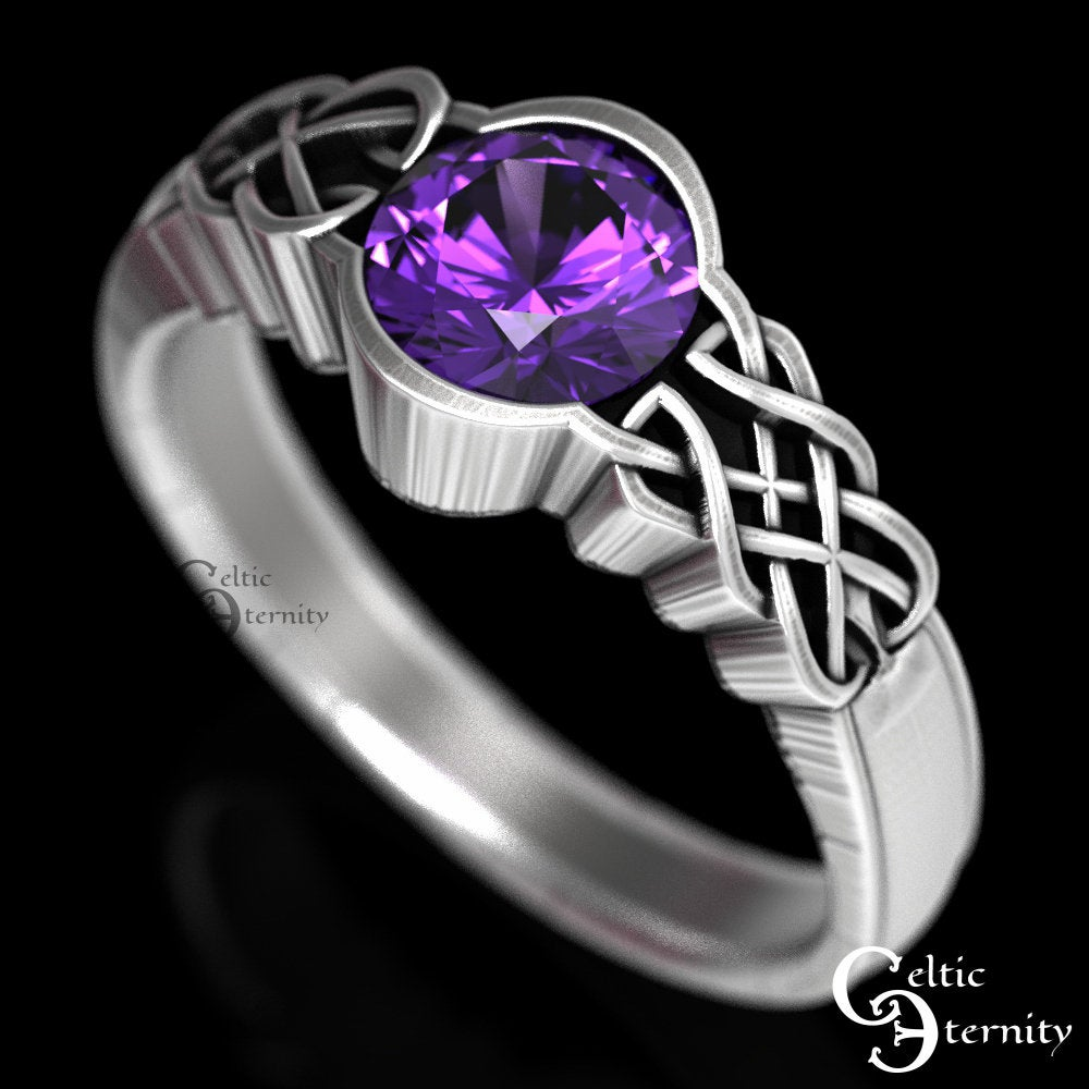 Celtic Amethyst Engagement Ring, Solitaire Silver Wedding Purple Solitaire, 1032