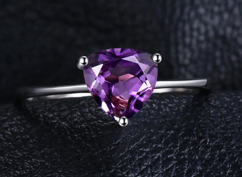 1.50Ct. Trillion Cut Amethyst Engagement Ring Solitaire For Women 14K White Gold Natural Promise
