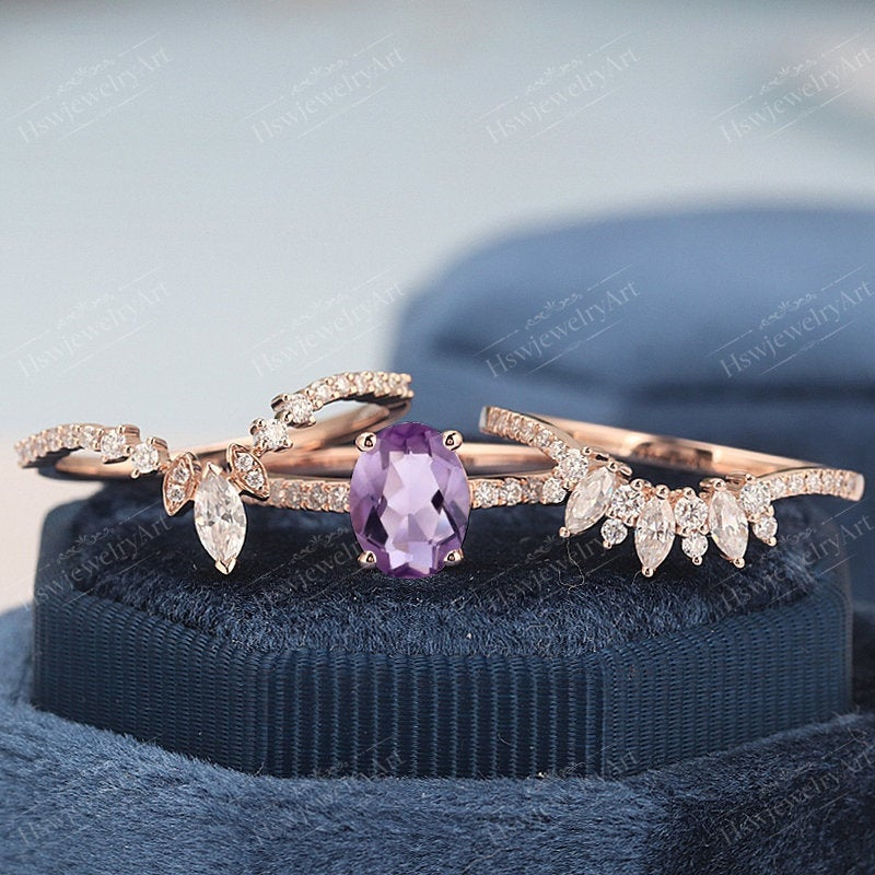 Amethyst Engagement Ring Sets Oval Cut Cluster Rose Gold Unique Vintage Women Marquise Cut Wedding Anniversary Ring