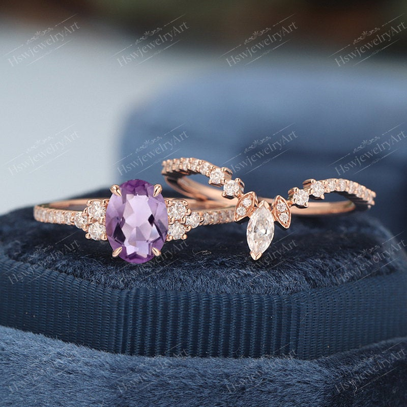 Oval Amethyst Engagement Ring Solid Gold Ring Unique Cluster Engagement Vintage Marquise Diamond/Moissanite Wedding Bridal