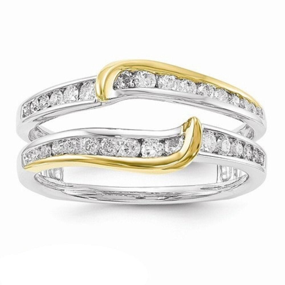 Women Anniversary Wedding Band Enhancer Guard Ring 0.50 Ct Channel Set Simulated Diamond 14K Gold Plated Sterling Silver