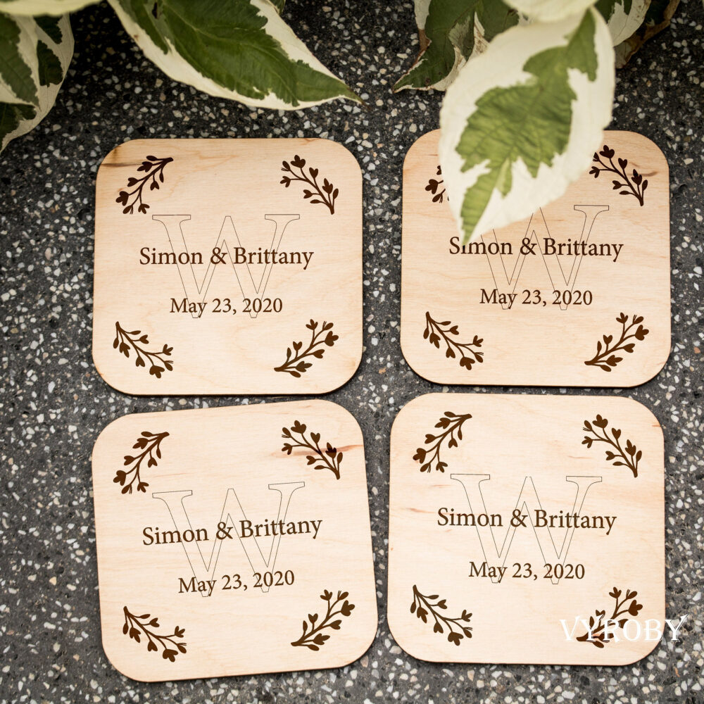 Rustic Wedding Favors For Guests in Bulk Personalized Engraved Wood Coasters