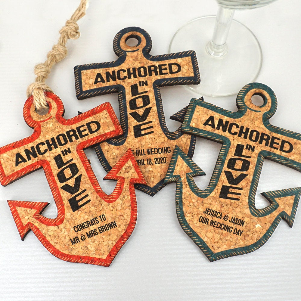 Wedding Favor Coasters, Personalized Anchor Shaped Cork Coaster, Coaster Favors - Set Of 12