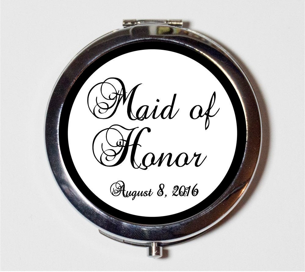 Maid Of Honor Wedding Party Compact Mirror - Customized With Your Date Bridal Gift Make Up Pocket For Cosmetics