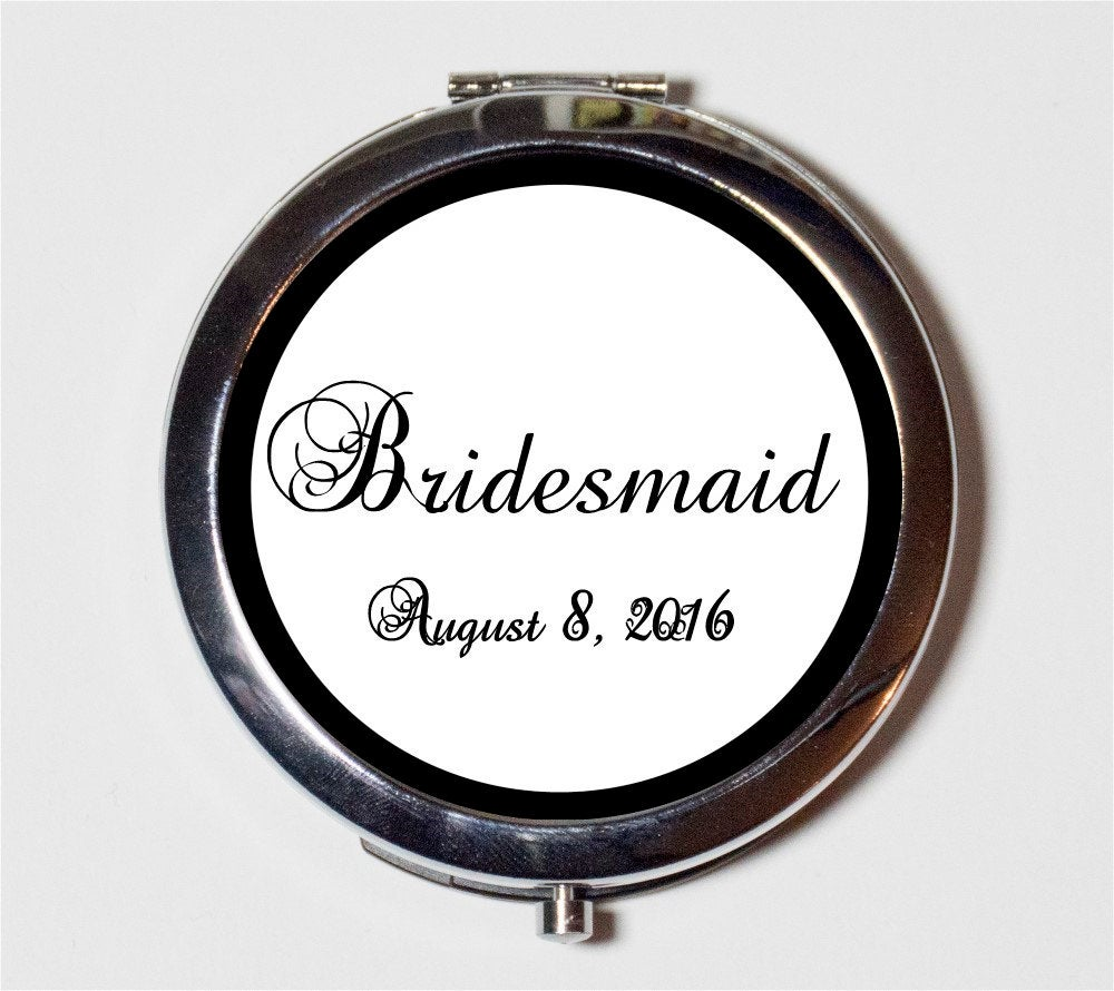 Bridesmaid Wedding Party Compact Mirror - Customized With Your Date Bridal Gift Make Up Pocket For Cosmetics