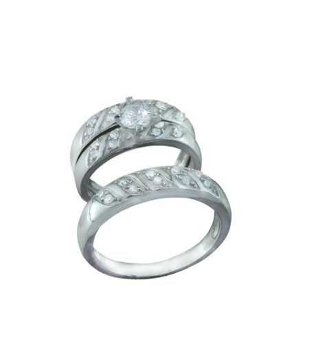 Silver Trio Wedding Ring Sets, 0.925 Sterling Channel Setting With Cubic Zirconium Stones