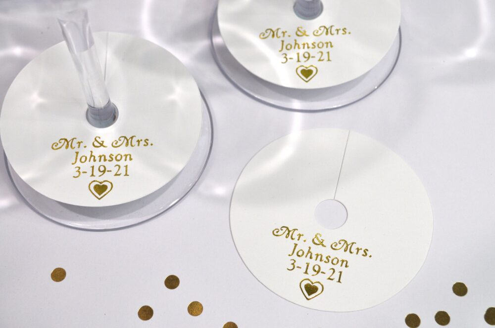 Wedding Wine Glass Marker Tags Gold Foil Printed, Personalized Tags, Bridal Shower Charm Tag - Set Of 24