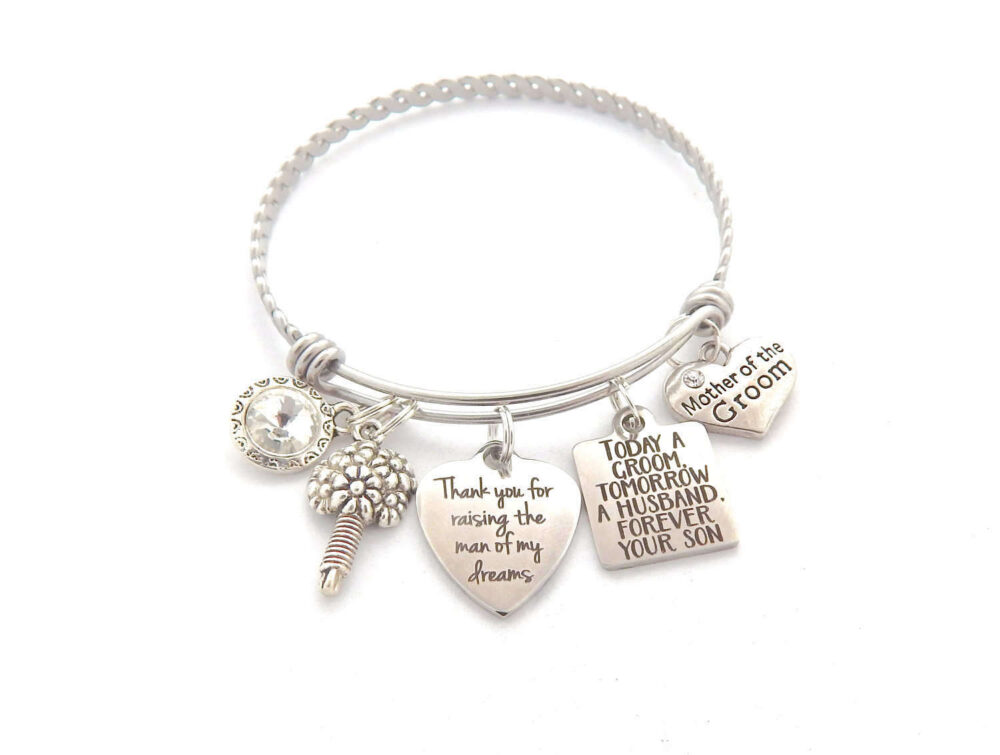 Mother Of The Groom Charm Bracelet-Gift From Son-Today A Wedding Quote, Gift-Mother Groom-Wholesale Jewelry