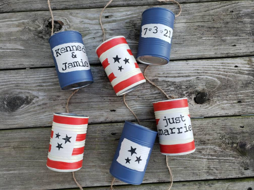 Americana Wedding, Just Married, Red White & Blue, Tin Cans, Traditions, Stars Stripes, Patriotic, Military Car Decoration