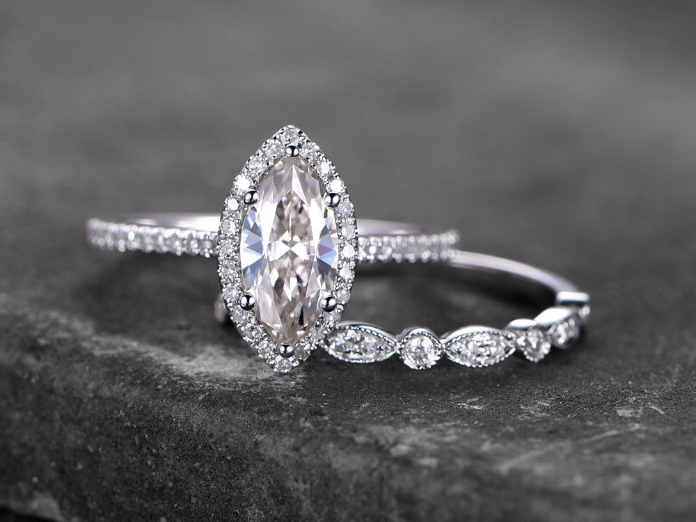 Marquise Sterling Silver Ring Set/Cubic Zirconia Wedding Band/Cz Engagement Ring/Stack Ring/2Pc Matching Ring/Promise Ring/White Gold Plated