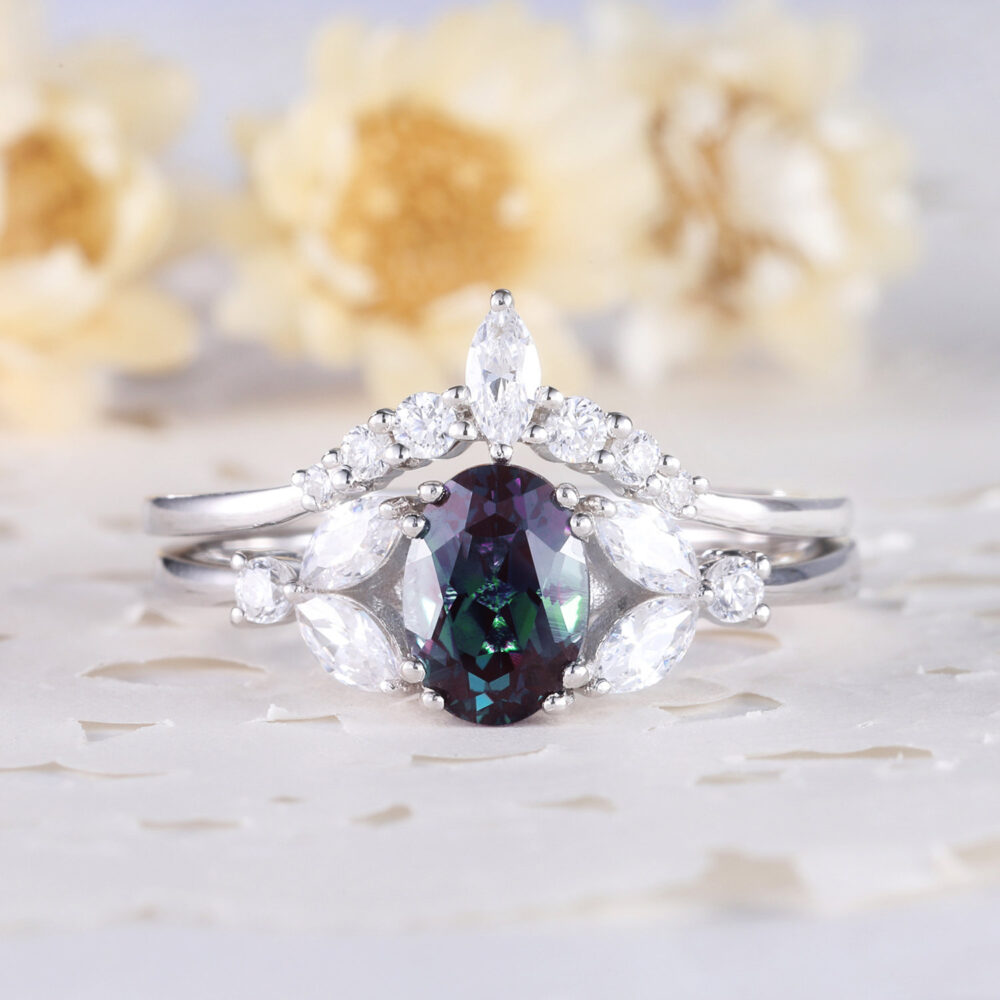 Alexandrite Ring Set 14K Sterling Silver White Gold Marquise Cz Diamond Curved Matching Band Women Anniversary Gift 2Pcs Color Change