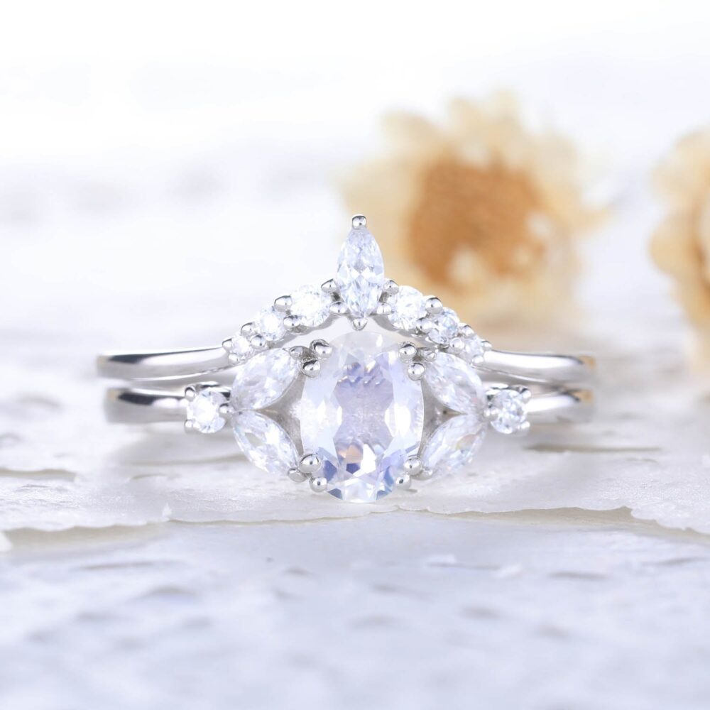 Natural Rainbow Moonstone Wedding Ring Set 14K Sterling Silver White Gold Marquise Cz Diamond Curved Matching Band Women Anniversary Gift