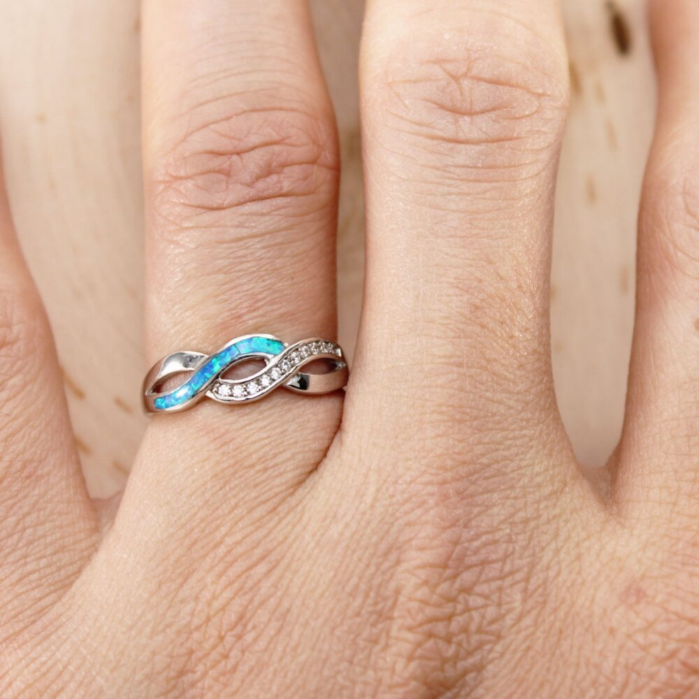 sterling Silver Opal Infinity Band Ring, Infinity Love Intertwined Braid Gift For Her, Promise Ring