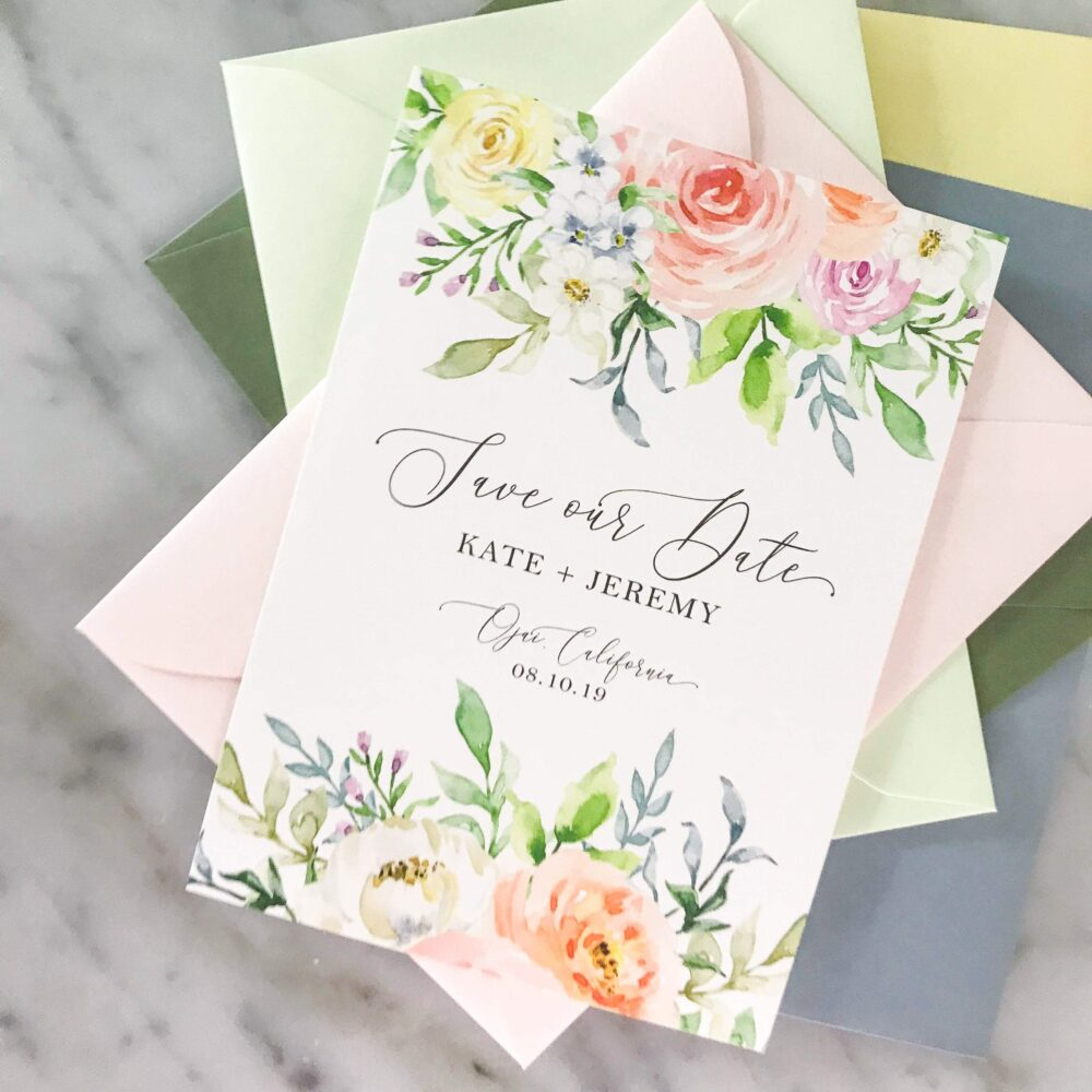 Spring Flowers Save The Date Card For Any Watercolor Floral Wedding in Light Pink, Blue, & Mint Green