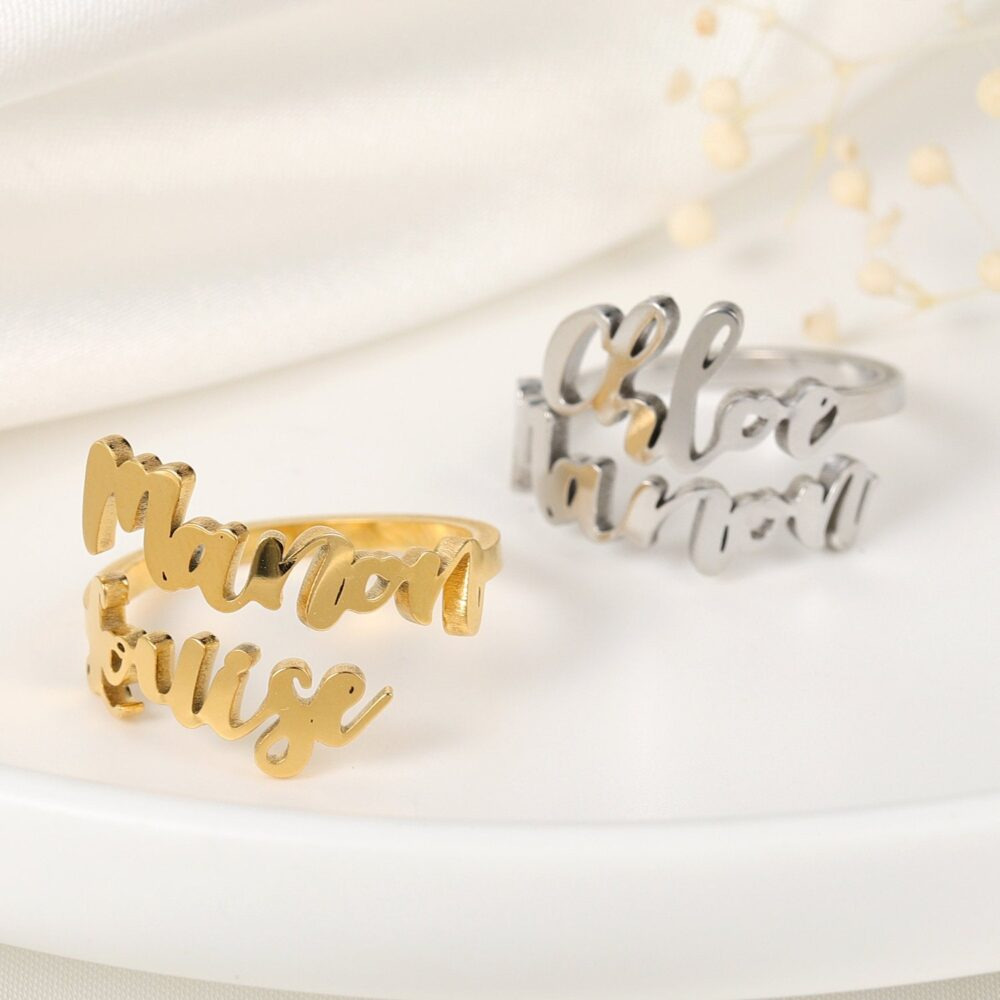 Double Name Ring, Two Personalized Statement Custom Names Family New Mom Gift, Mother Daughter Ring