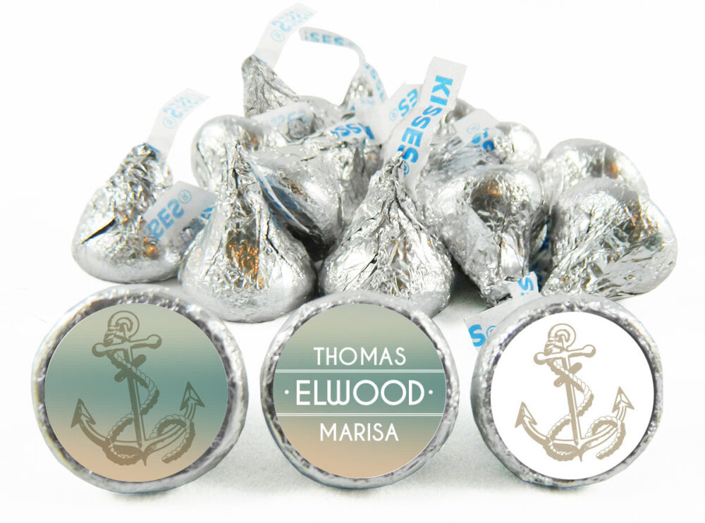 Nautical Theme Personalized Wedding Stickers For Hershey's Kisses. Labels Kisses - Party Favors Set Of 108