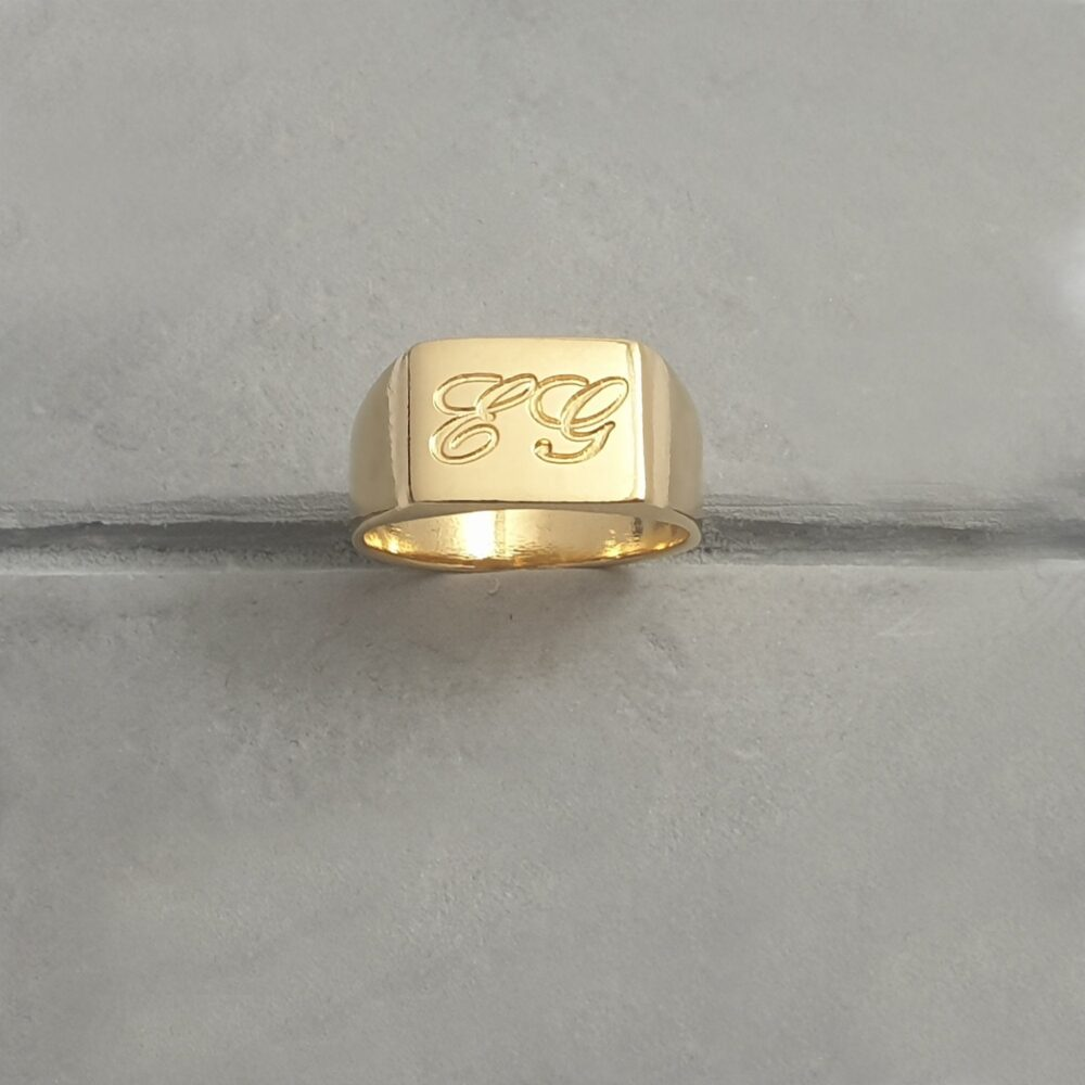 Men's Signet Ring, Custom Engraved Rectangle Personalized Men's Pinky Ring in Sterling Silver Or Gold Plated, Monogram For Men