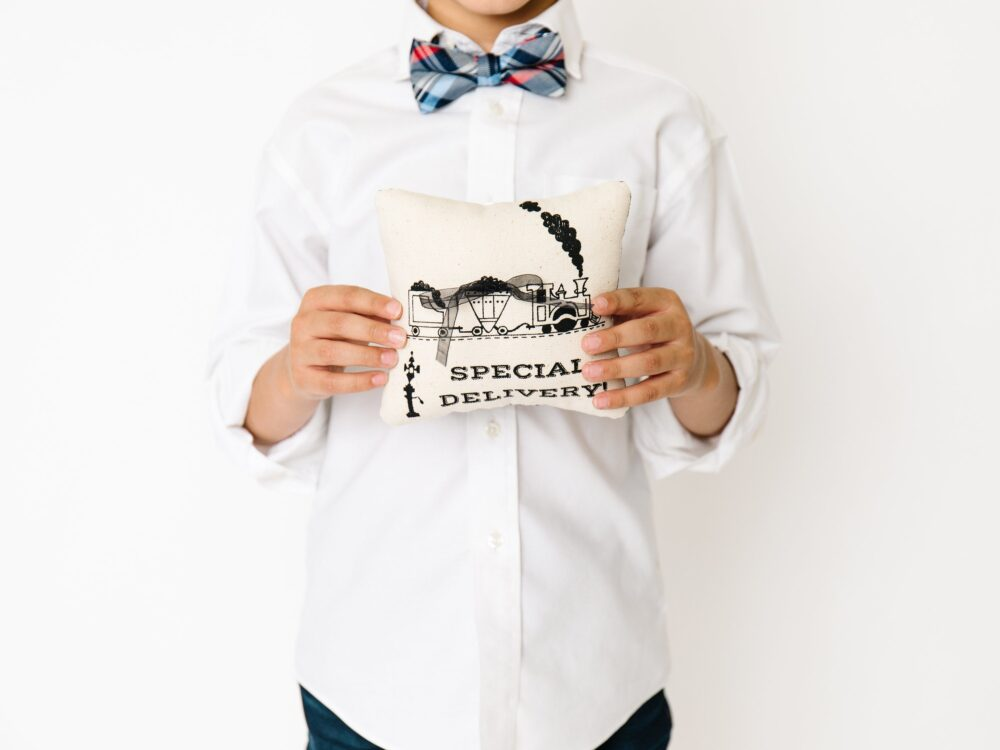 Train Ring Bearer Pillow, Outfit, Rustic Rock & Roll Wedding, Funny Wedding Holder