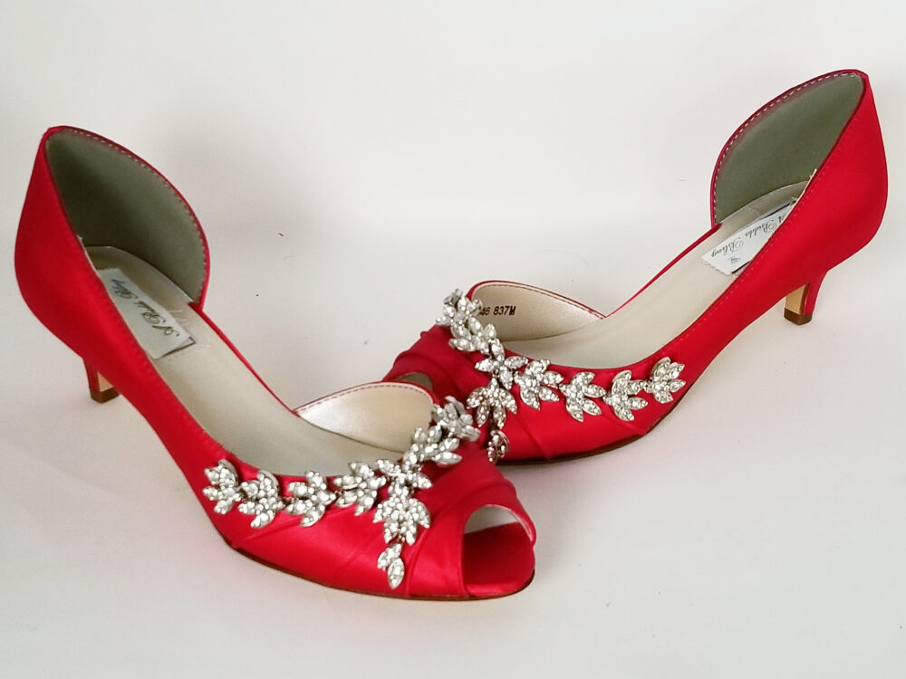 Red Wedding Shoes Crystal Vine Design Bridal Bridesmaid Pick From 100 Colors