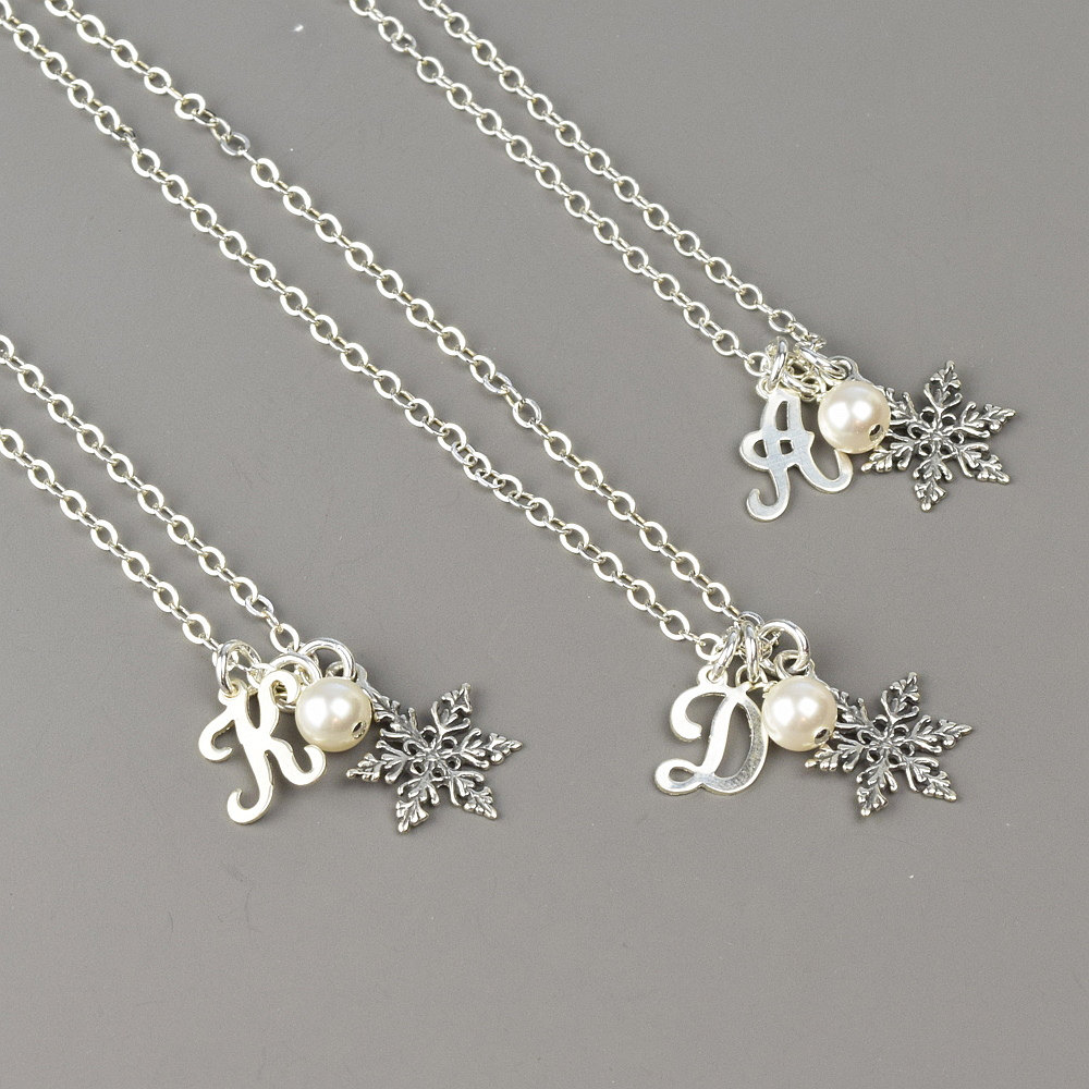 Winter Wedding Jewelry Set Of 3 Personalized Bridesmaid Necklaces Sterling Silver Snowflake Pearl Initial Gifts