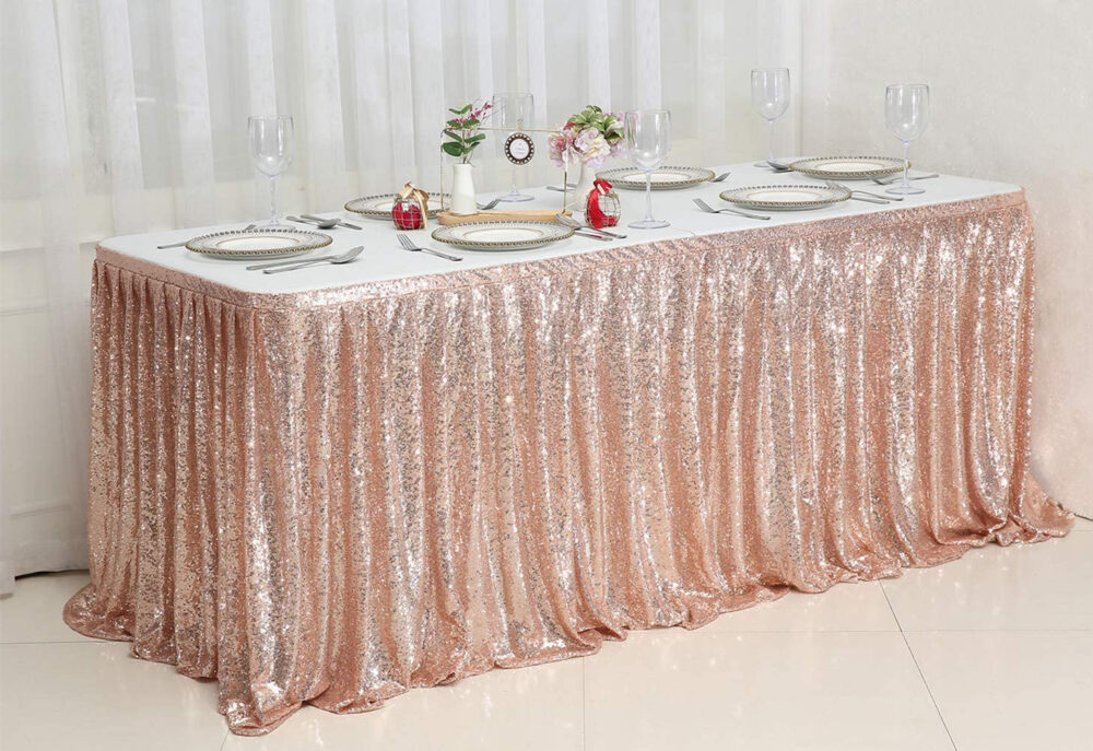 Table Skirt Sequin Rectangle Round Skirting Decoration For Wedding Birthday Party Rose Gold | L 6 Ft, H 30 In
