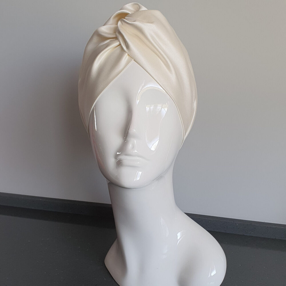 Finished Turban Hat Made Of Satin With An Elastic Nape. Womens Twist For Spring & Summer. White