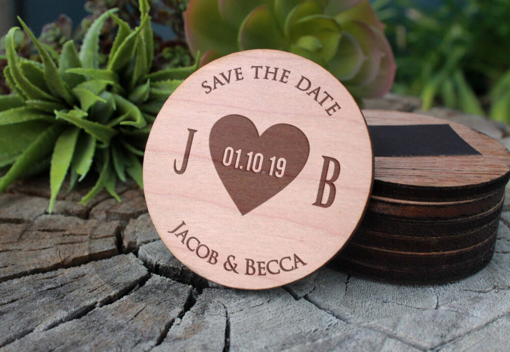 Tie The Knot Save Date Magnet, Wood Date, Custom Date, Personalized Date, Wood Mag-Wood-Jb